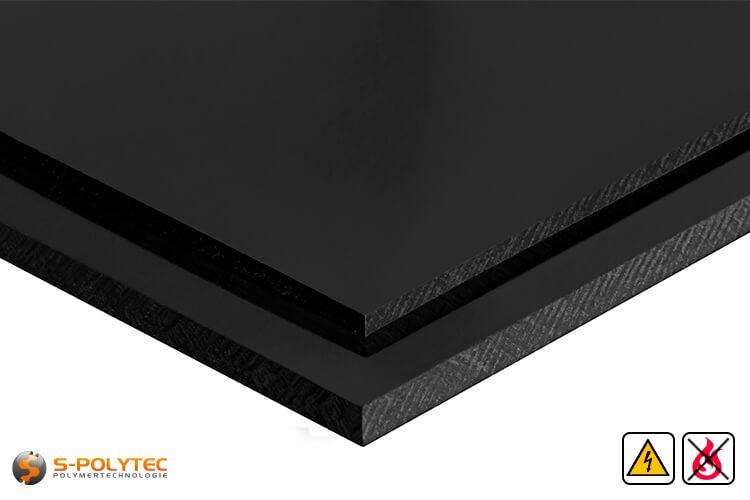 Elektrisch leitende Polypropylenplatten in schwarz in Stärken von 10mm - 30mm als Standardplatte 2,0 x 1,0 Meter - Detailansicht