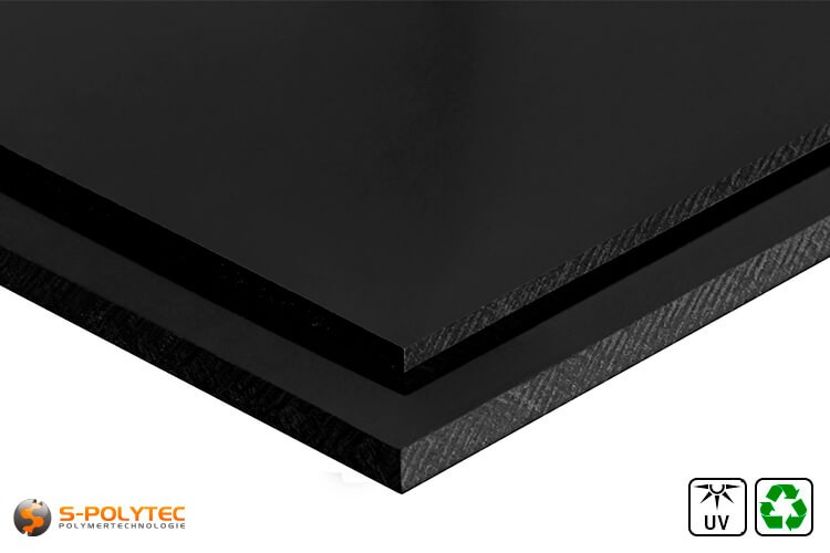 Polyethylen Regenerat (PE-UHMW, PE-1000) Platten schwarz in Stärken von 10mm - 80mm im Standardformat - Detailansicht