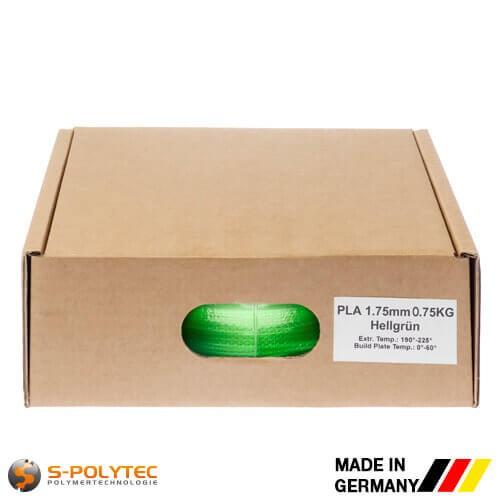 PLA-Filament hellgrün (ähnlich RAL6018, Gelbgrün) in hoher Qualität vakuumverpackt in verschiedenen Stärken als 0,75kg Spule