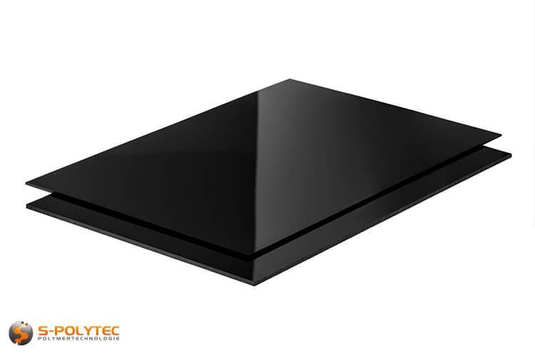 Polystyrol-Platten (PS) in schwarz, hochglänzend in Stärken von 2 - 3mm im Zuschnitt