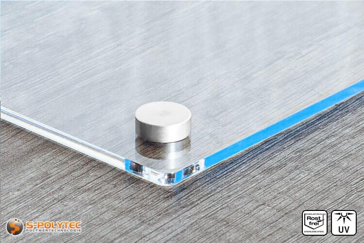 Schraubenabdeckkappe 15mm aus Edelstahl mit Acrylglasschild