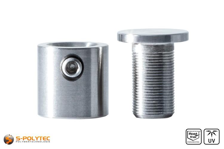 Distanzstück und Schraubenkopf Abstandshalter 13x13mm aus rostfreiem Stahl