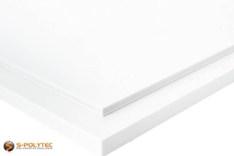 Weißes PTFE als kleine Standardplatte in Stärken von 5mm - 15mm - Detailansicht
