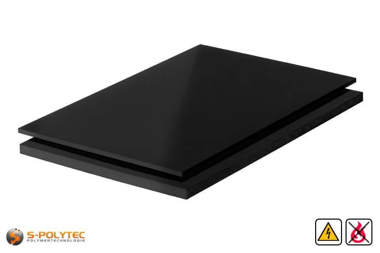 PP-EL-S Platten (elektrisch leitfähiges Polypropylen) in schwarz mit glatter Oberfläche in Stärken von 10mm - 30mm als Standardplatte 2,0 x 1,0 Meter