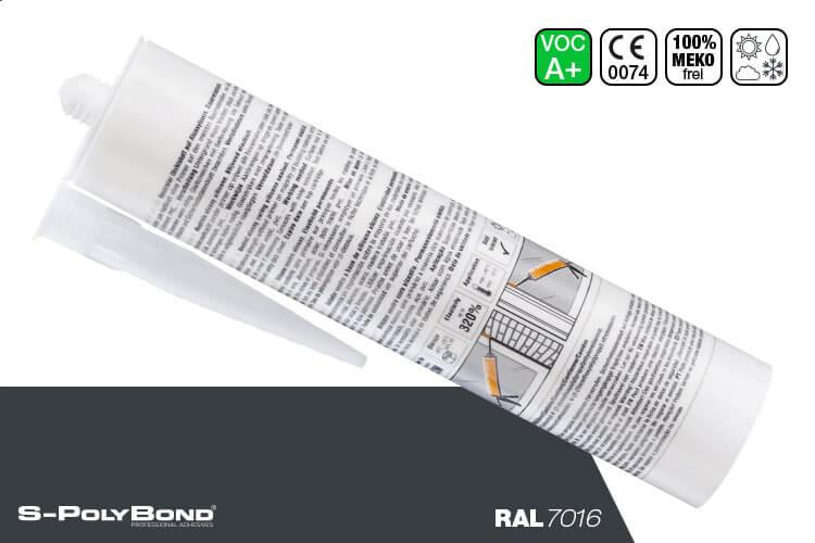 Anthrazitgraues Silikon auf Alkoxy-Technologie von S-Polybond SILIKONprofi