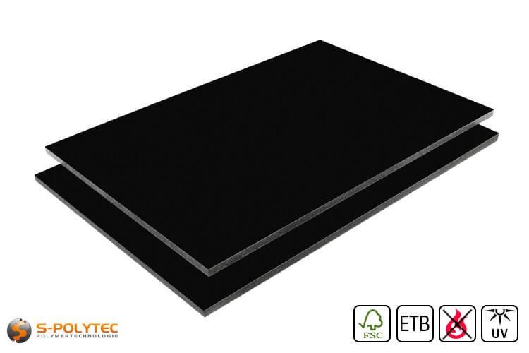 HPL Platte RAL9005 Tiefschwarz schwer entflammbar mit ETB Absturzsicherung in 6mm