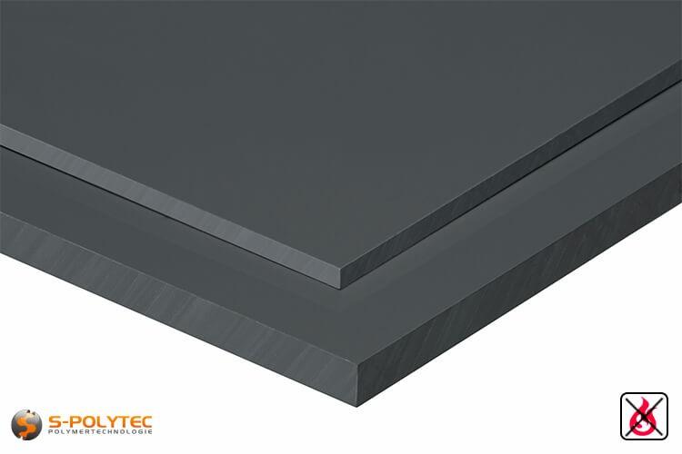 PVC Platten dunkelgrau aus Hart-PVC (PVCU) in Stärken von 1mm - 50mm - Detailansicht