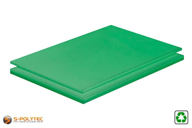 Polyethylen (PE-UHMW, PE-1000) Platten grün aus Recyclingmaterial mit glatter Oberfläche in Stärken von 10mm - 80mm als Standardplatte 2,0 x 1,0 Meter