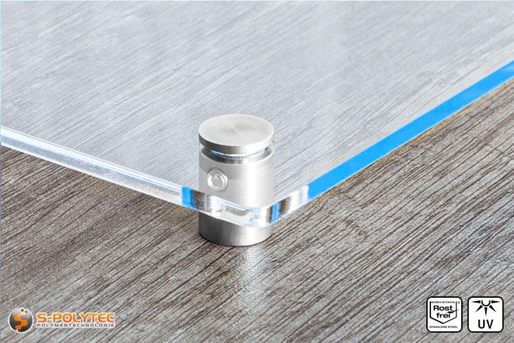 Schilderhalter 13x13mm flacher Kopf aus Edelstahl mit Acrylglasschild