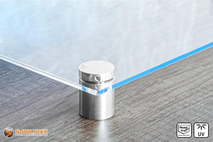 Schilderhalter 25x25mm aus Edelstahl mit Acrylglasschild