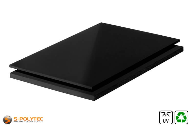 Polyethylen (PE-UHMW, PE-1000) Platten schwarz aus Recyclingmaterial mit glatter Oberfläche in Stärken von 10mm - 80mm als Standardplatte 2,0 x 1,0 Meter
