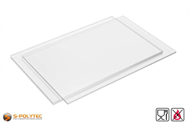 PETG Platten transparent lebensmittelkonform, schwer entflammbar als Standardplatte 2,0 x 1,0 Meter - detail