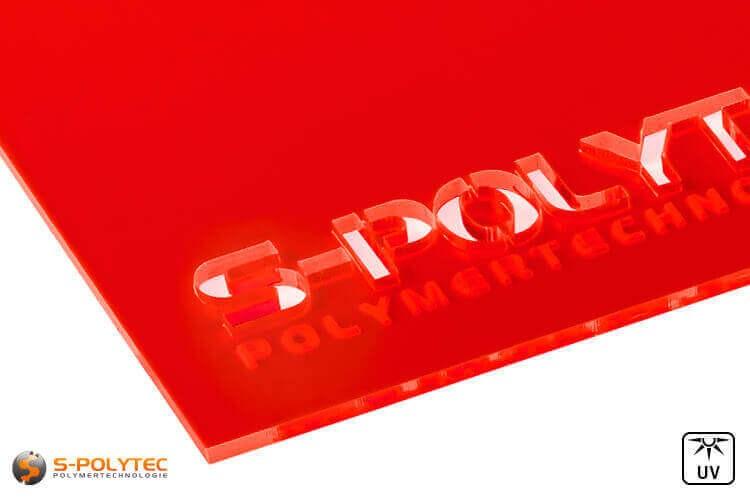 Acrylglas rot fluoreszierend gelasert (Laserzuschnitte)