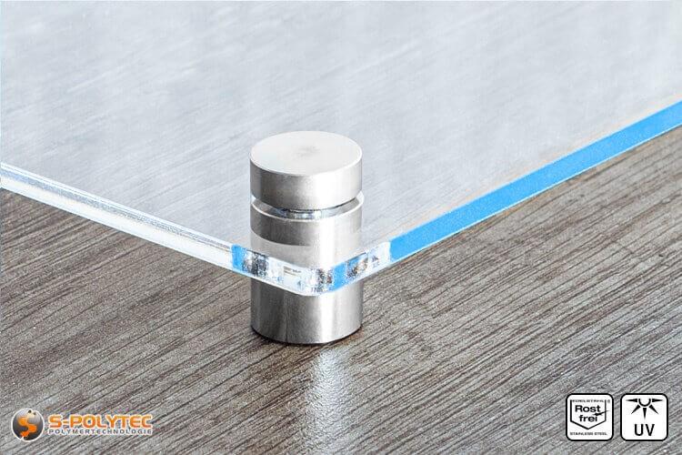 Schilderhalter 15x15mm aus Edelstahl mit Acrylglasschild