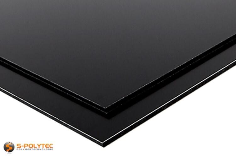 Alu-verbundplatten (Alu-dibond) in schwarz auf Maß kaufen - Detailansicht