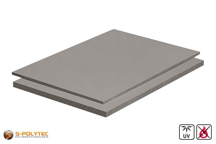PVC Platten Hellgrau aus Hart-PVC (PVCU) in Stärken von 3mm - 30mm im Format 2,0 x 1,0 Meter