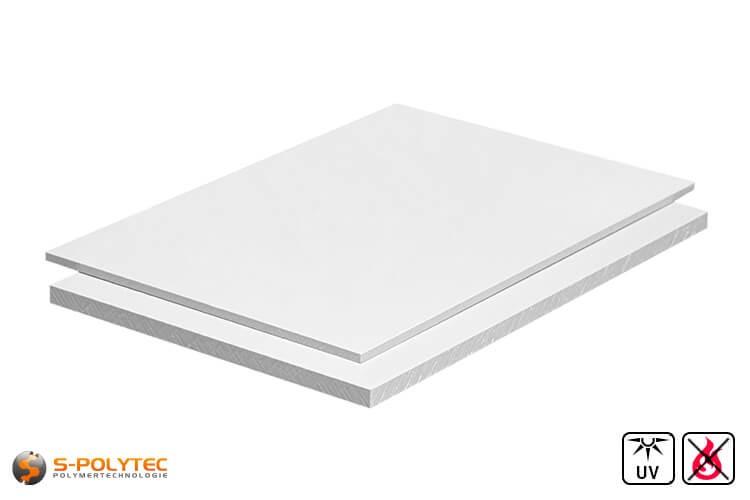 PVC Platten Weiß aus Hart-PVC (PVCU) in Stärken von 1mm - 4mm im Format 2,0 x 1,0 Meter