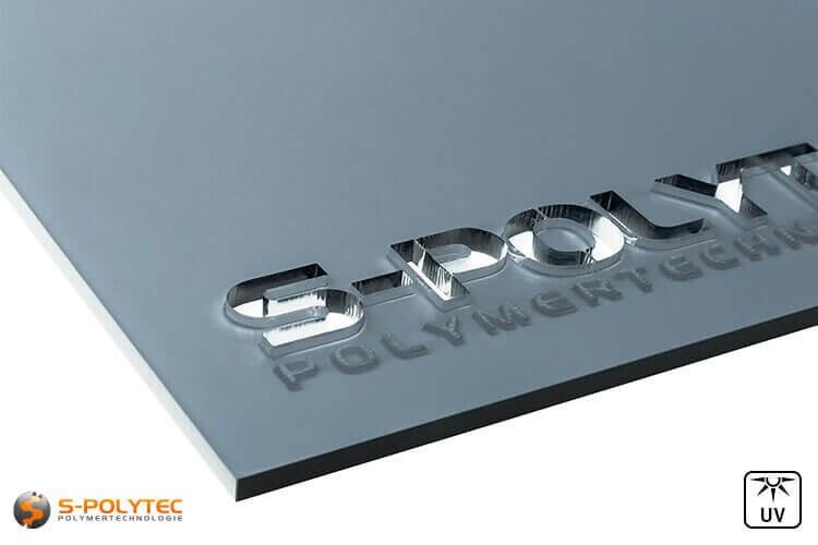 Acrylglas grau getönt gelasert im Laserzuschnitt