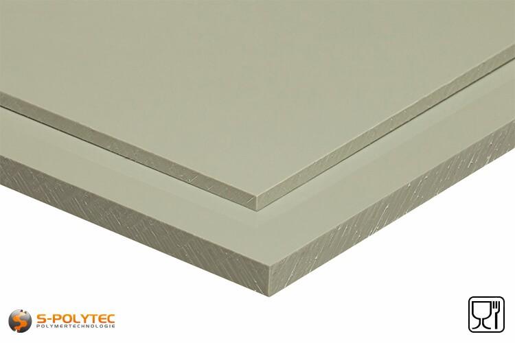 Polypropylen Platten (PP-H) grau (ähnlich RAL7032) im Zuschnitt - Detailansicht