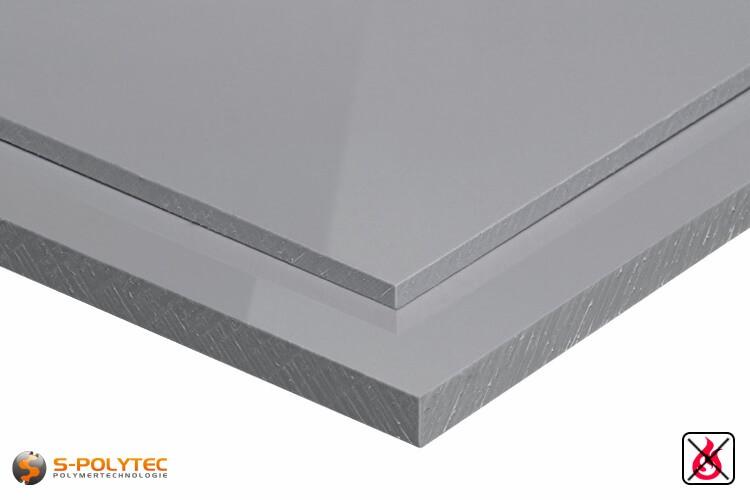 Schwer entflammbare Polypropylenplatten in grau in Stärken von 3mm - 20mm als Standardplatte 2,0 x 1,0 Meter - Detailansicht