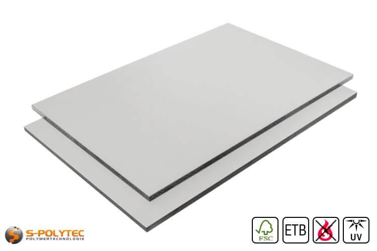 HPL Platte RAL7035 Lichtgrau schwer entflammbar mit ETB Absturzsicherung in 6mm und 8mm
