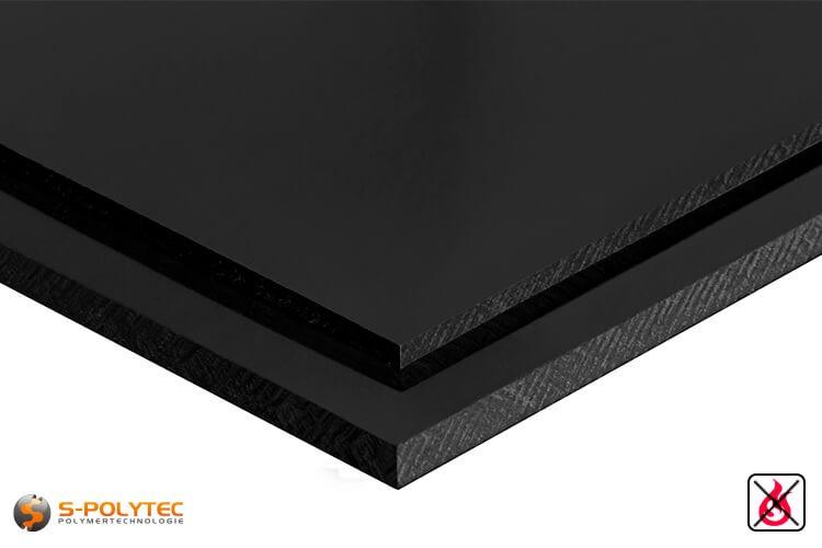 PVC Platten schwarz aus Hart-PVC (PVCU) in Stärken von 1mm - 40mm - Detailansicht