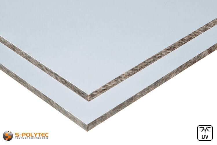 HPL Platten mit beidseitig silbergrauer Oberfläche in 6mm oder 8mm Stärke im Zuschnitt
