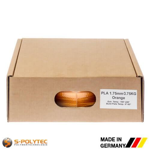 PLA-Filament orange (ähnlich RAL2005, Leuchtorange) in hoher Qualität vakuumverpackt in verschiedenen Stärken als 0,75kg Spule