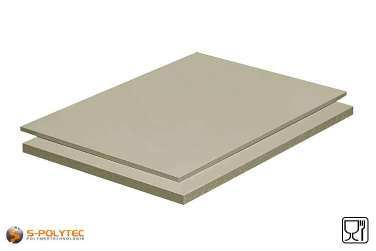 Polypropylen Platten (PP-H) grau (ähnlich RAL7032) im Zuschnitt in Stärken von 3mm - 15mm