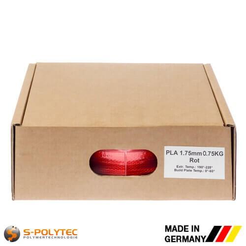 PLA-Filament rot (ähnlich RAL3028, Reinrot) in hoher Qualität vakuumverpackt in verschiedenen Stärken als 0,75kg Spule