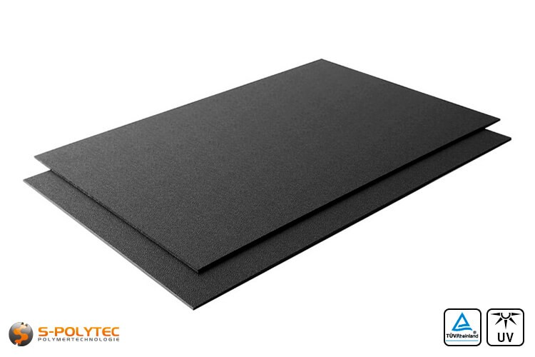 ASA/ABS schwarz (ähnlich RAL9005, Tiefschwarz) als Standardplatte 2000mm x 1000mm von 2mm und 4mm Stärke
