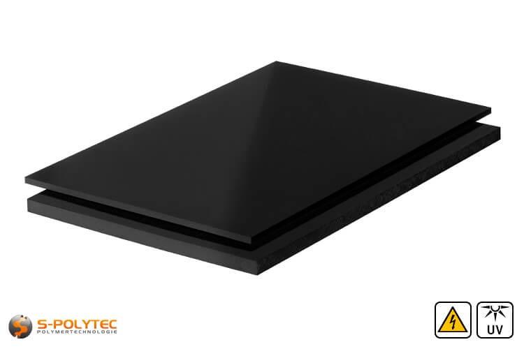 PE-EL Platten (elektrisch leitfähiges Polyethylen) in schwarz mit glatter Oberfläche in Stärken von 3mm - 60mm als Standardplatte 2,0 x 1,0 Meter