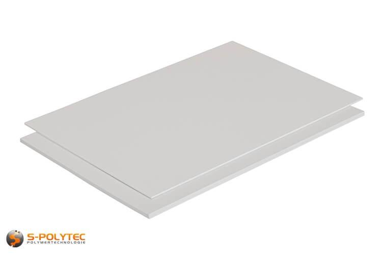 Polystyrol weiß (ähnlich RAL9003, Signalweiß) als Standardplatte 2000mm x 1000mm von 1mm bis 5mm Stärke