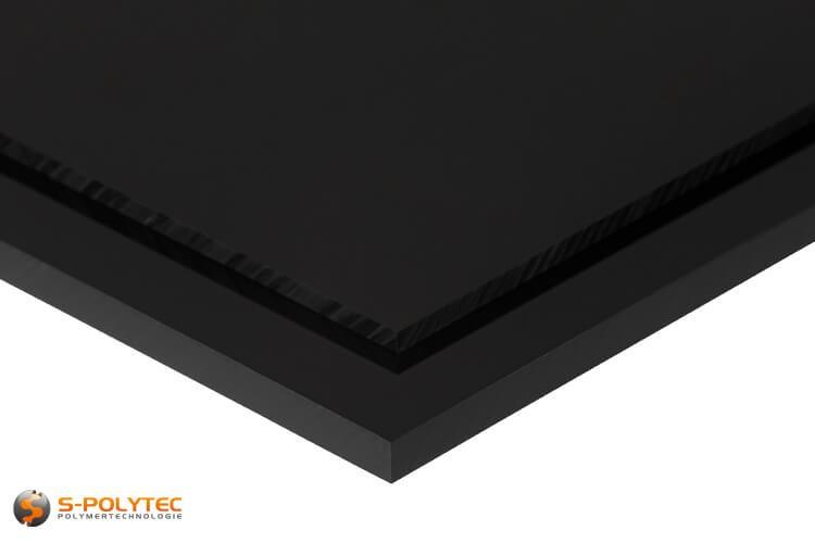 Schlagfeste ABS Platten in schwarz in Stärken von 1mm - 10mm als Standardplatte 2,0 x 1,0 Meter - Detailansicht