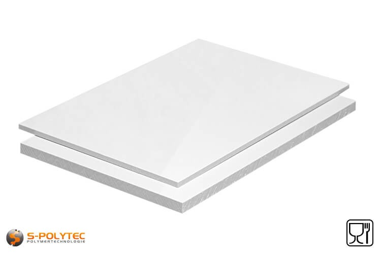 Polypropylen Platten (PP-H) weiß (ähnlich RAL9016) in Stärken von 10mm - 20mm als Standardplatte im Format 2x1 Meter