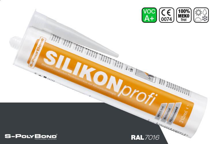 S-Polybond SILIKONprofi Alkoxy-Silikon Anthrazitgrau (RAL 7016)