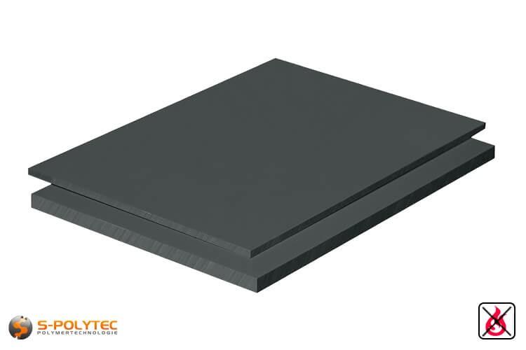 PVC Platten dunkelgrau aus Hart-PVC (PVCU) in Stärken von 1mm - 50mm im Standardformat  2x1m