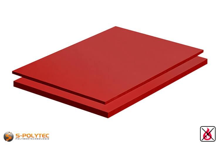 PVC Platten rot aus Hart-PVC (PVCU) in Stärken von 2mm - 10mm im Standardformat  2x1m