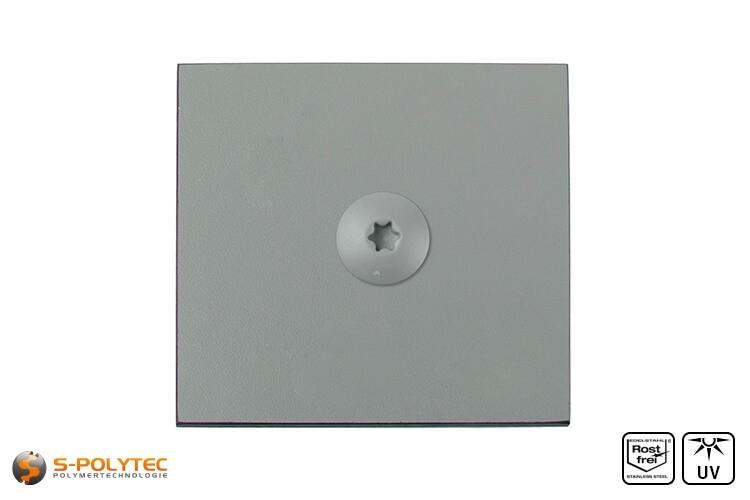HPL Schraube auf einer staubgrauen HPL Platte