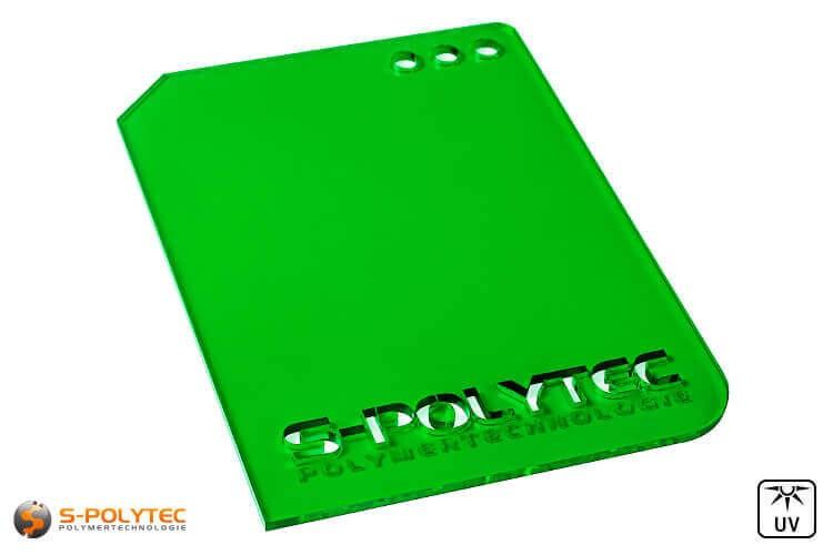 Acrylglas grün durchsichtig im Laserzuschnitt