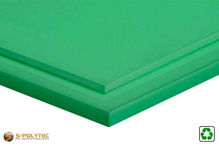 Polyethylen Regenerat (PE-UHMW, PE-1000) Platten grün in Stärken von 10mm - 80mm im Standardformat - Detailansicht