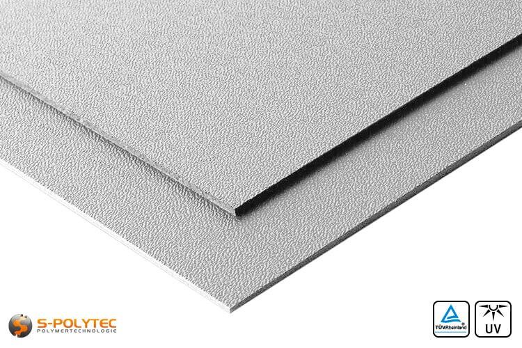 ASA/ABS Platten grau genarbt (RAL 7040) im Zuschnitt UV-beständig - Detailansicht