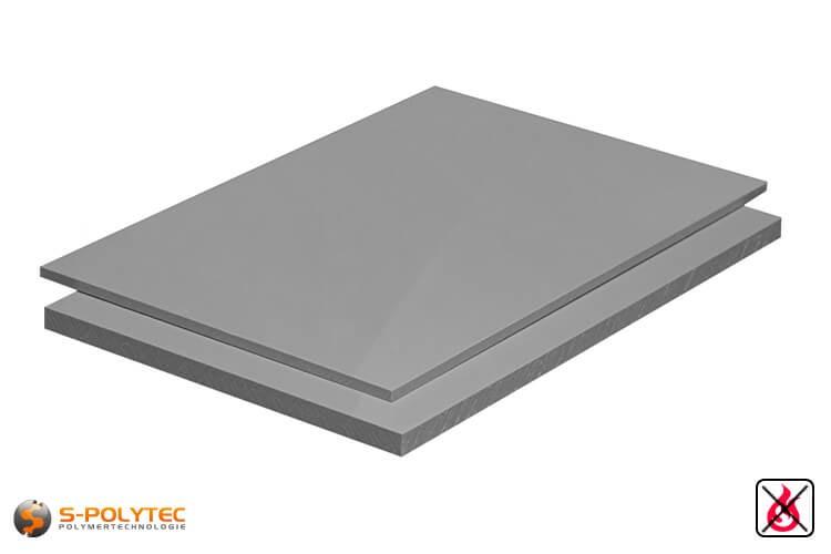 PP-S Platten (schwer entflammbar nach DIN 4102 B1, Polypropylen) in grau mit glatter Oberfläche in Stärken von 3mm - 20mm als Standardplatte 2,0 x 1,0 Meter