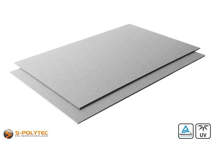 ASA/ABS Platten grau genarbt (RAL 7040) im Zuschnitt UV-beständig