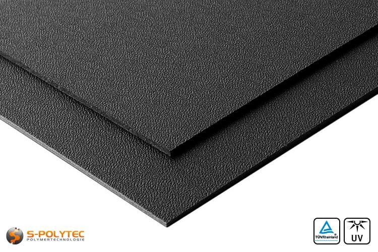 ASA/ABS Platten schwarz mit genarbter Oberfläche - Detailansicht