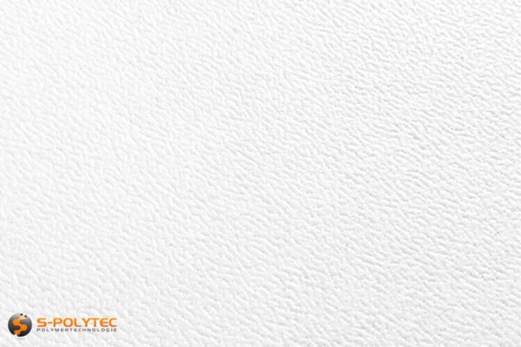 Polyethylen (PE) Platten weiß (ähnlich RAL 9016) mit beidseitiger Narbung 19mm Zuschnitt - Detailansicht