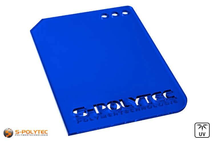 Acrylglas dunkelblau durchsichtig im Laserzuschnitt