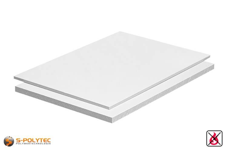PVC Platten weiß aus Hart-PVC (PVCU) in Stärken von 1mm - 20mm im Standardformat  2x1m