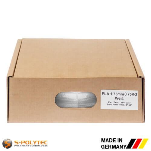 PLA-Filament weiß in hoher Qualität vakuumverpackt in verschiedenen Stärken als 0,75kg Spule
