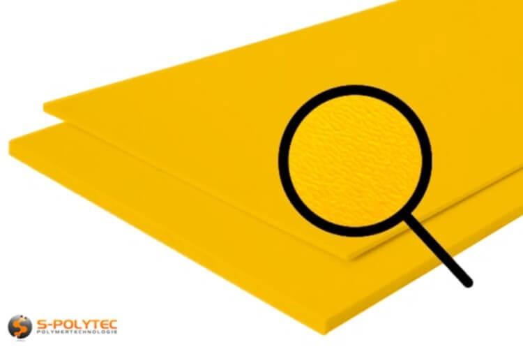 Polyethylen (PE) Platten gelb (ähnlich RAL 1004) mit beidseitiger Narbung 19mm
